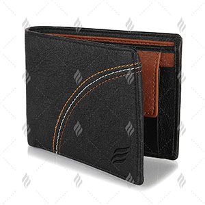 Durable Cloth Lining Mens Black PU Leather Wallet