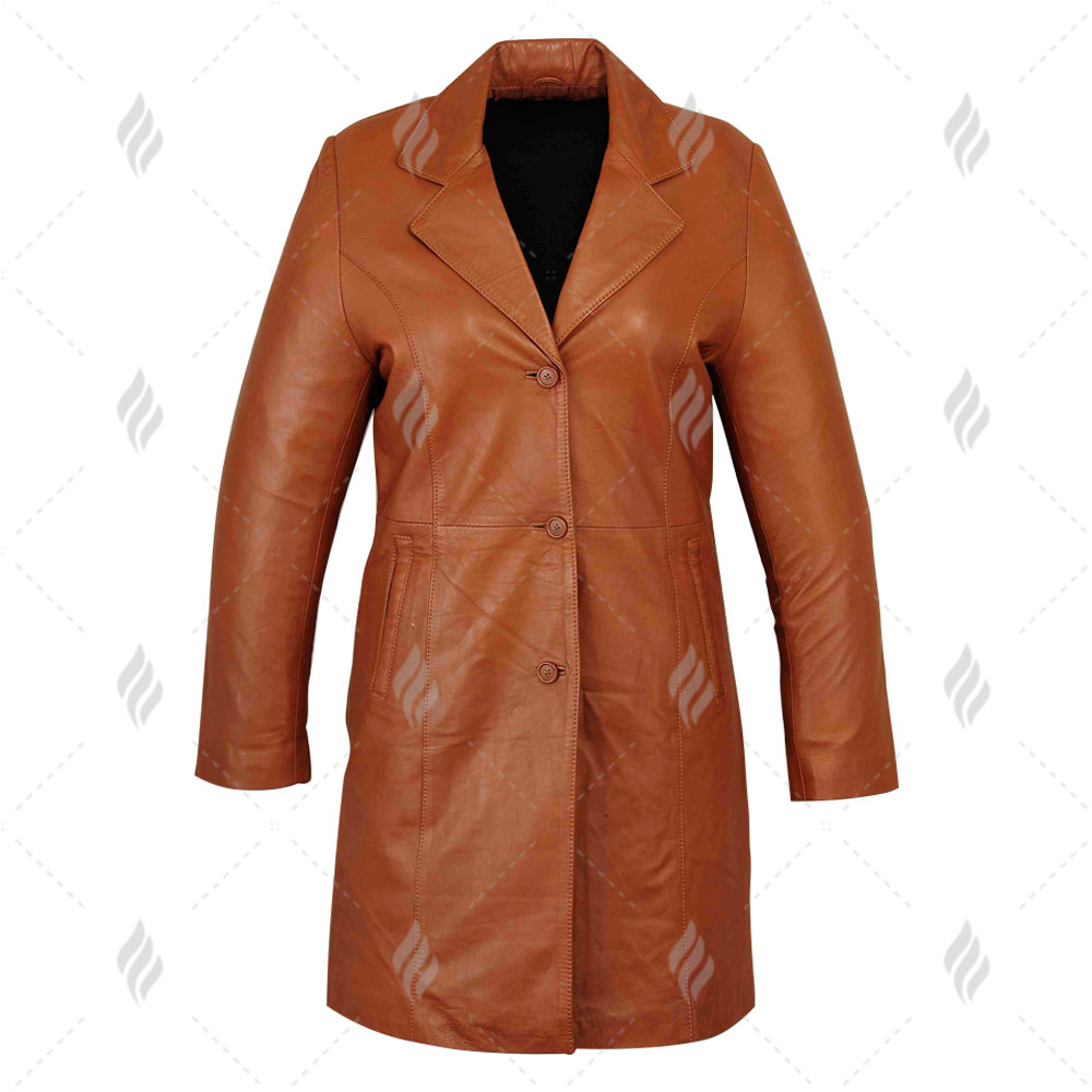 Wholesale Best Quality Real Genuine Leather Ladies Long Coat For Sale | Brown Coat For Women